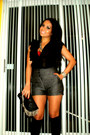 Black-blouse-dark-gray-shorts-black-bag-silver-accessories