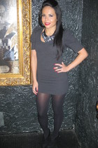 heather gray dress - silver accessories - black stockings - black necklace