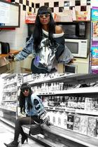 blue Levis jacket - black shirt - white dress - black Chanel purse - black Forev
