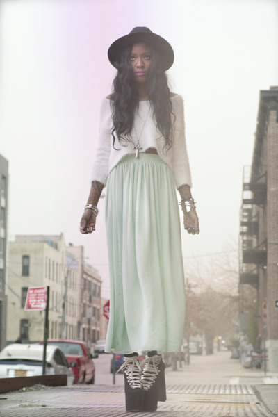 chartreuse vintage skirt - black unif hellbounds boots - white vintage sweater