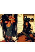 black dress - black shoes - black bowler hat Target hat - black blouse