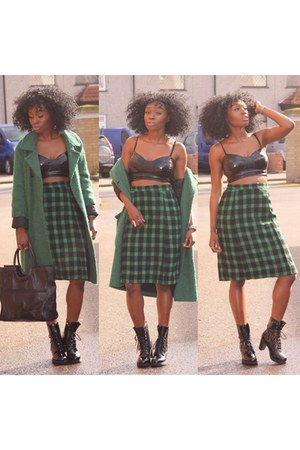 green asos coat - gingham East End Thrift Store skirt - patent Primark top