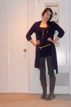 brown boots - black top - army green pants - deep purple cardigan - mustard belt