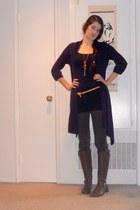 brown boots - black top - army green pants - deep purple cardigan - mustard belt