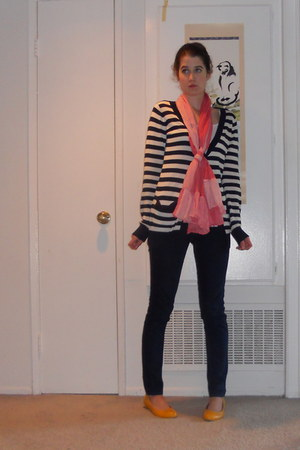 salmon scarf - blue jeans - navy and white cardigan - mustard flats - white top