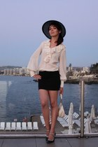 black hat - off white bag - neutral vintage blouse - black Charlotte Russe heels