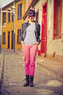 Black-boots-black-lipstick-jacket-white-shirt-brown-sunglasses-hot-pink-