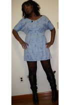blue vintage dress - black Payhalf tights - black Chloe boots