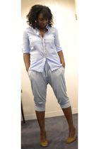 blue Forever 21 shirt - gray Olsenboye from JCPenney pants - brown Kors by Micha
