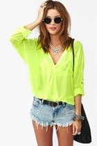 chartreuse top - black bag - light blue shorts - silver necklace