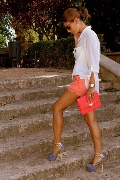 coral bag - salmon shorts - white blouse - light purple heels