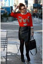 red cat Target sweater - black DKNY bag - black H&M skirt