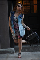 blue Urban Outfitters vest - magenta Zac Posen dress - black DKNY purse