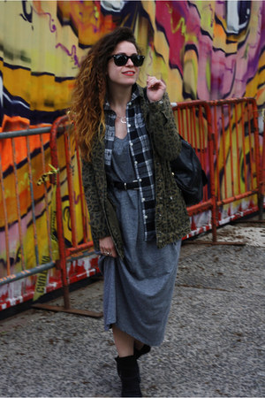 black Nasty Gal boots - heather gray Uniqlo dress - army green Forever 21 coat