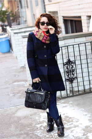 navy Old Navy coat - navy Urban Outfitters jeans - brown Nordstrom scarf