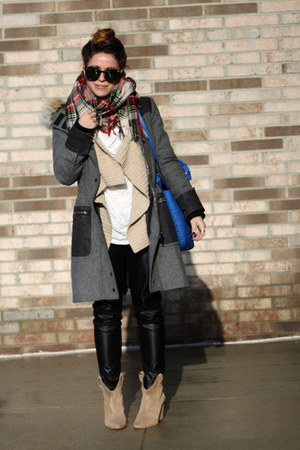 light brown Zara boots - gray rag & bone coat - camel plaid Forever 21 scarf