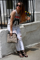 white Zara bag - white distressed CarMar pants - black Steve Madden wedges