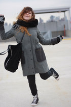 black Zara bag - gray rag & bone coat - black coach sneakers