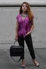 Black-dkny-bag-magenta-silk-rachel-roy-blouse-dark-gray-snakeskin-gap-pants