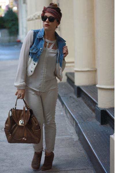 dark brown Lulus boots - navy vintage scarf - off white Zara pants
