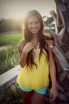 yellow Candies blouse - mint shorts