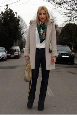 asos boots - Zara coat - Zara jeans - pull&bear scarf - Miu Miu bag - Zara blous
