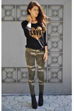 military Zara pants - H&M boots - leopard print H&M tie