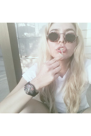 black bracelet - black thrifted vintage sunglasses - white Hanes t-shirt
