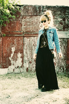 black Superga shoes - sky blue Express jacket - black shirt