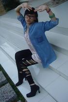 Blue vintage denim shirt - Pink flowery dress - DIY cut out leggings - Black boo