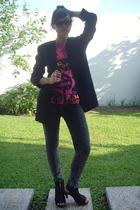 Topshop t-shirt - vintage blazer - acid wash jeans - Belle open toe boots