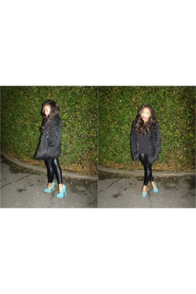 faux fur asos coat - faux leather H&M leggings - Zara top - asos heels
