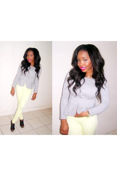 heather gray asos jacket - light yellow Zara jeans - black dune heels