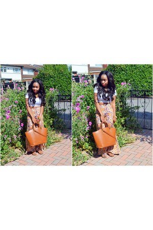carrot orange floral Topshop pants - tawny Zara bag - tawny H&amp;M sandals