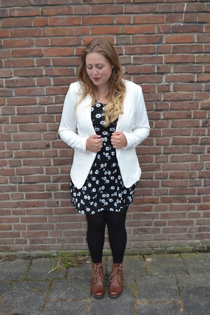 H&M boots - new look dress - H&M blazer