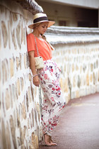 cream H&M hat - cream Martofchina bag - salmon OASAP blouse