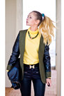 Black-forever-21-bag-olive-green-sheinside-jacket-black-romwe-pants