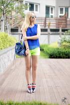 blue New Yorkers boots - blue balenciaga bag - yellow Korean shorts