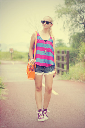 hot pink Forever 21 top - light orange Miss Nabi bag - black ray-ban sunglasses