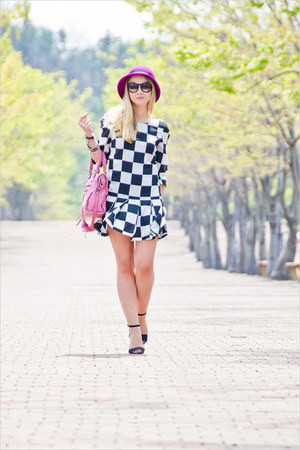 black Chanel sunglasses - white Sheinside dress - amethyst asos hat