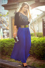 Black-vedette-intimate-gold-oasap-belt-blue-forever-21-skirt