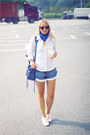 Blue-alexander-mcqueen-scarf-blue-balenciaga-bag-black-ray-ban-sunglasses