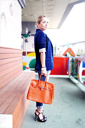 black Ebay heels - sky blue Levis jeans - blue H&M blazer