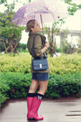 Hot-pink-miss-nabi-boots-olive-green-topshop-jacket-navy-miss-nabi-bag