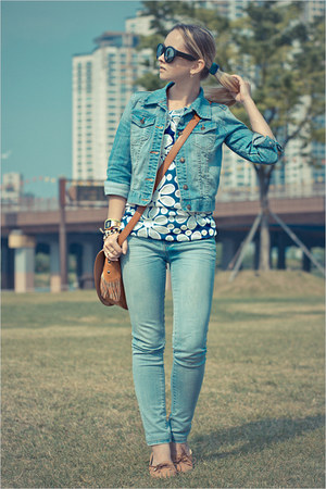 sky blue Forever 21 jeans - blue worn as top tideshe dress - Forever 21 jacket