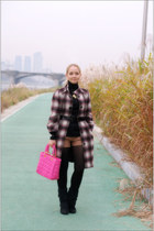 magenta Ysli coat - bubble gum Miss Nabi bag - gold bought in India necklace