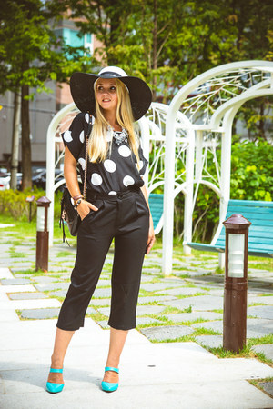 black blackfive hat - black Rebecca Minkoff bag - black Choies pants