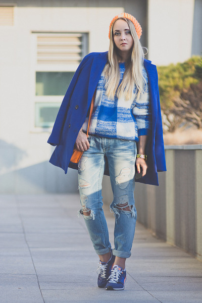 blue Sheinside coat - sky blue 8 seconds jeans - blue Choies sweater