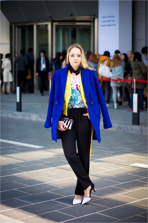 yellow vivilli blazer - blue Sheinside coat - white Zara bag