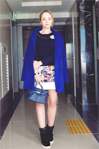 blue Sheinside coat - navy nowIStyle top - white romwe skirt